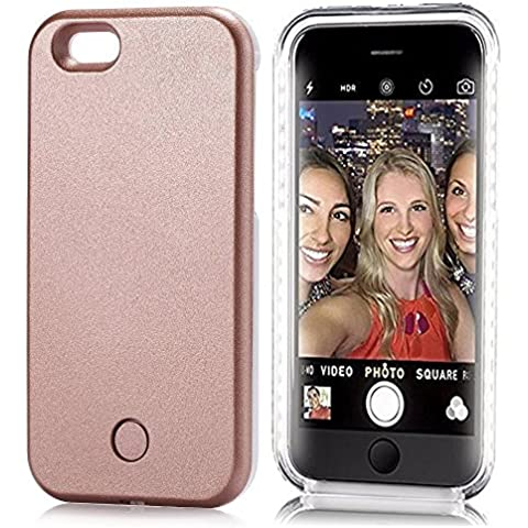 iPhone 6/6S Funda, carcasa iluminado luz LED hasta Selfie Funda con cable USB (para iPhone 6/6S, Oro Rosa), color oro