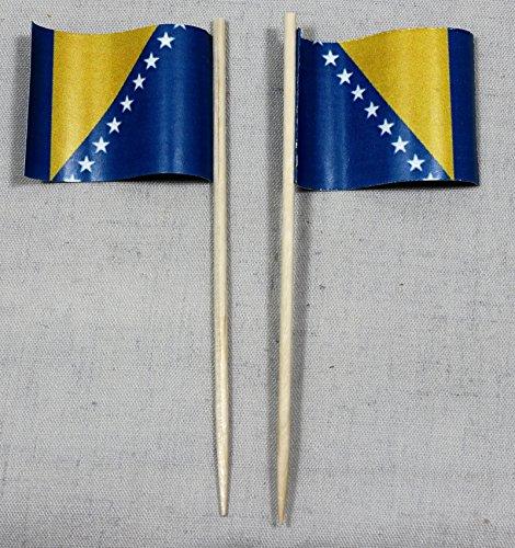 Party-Picker Flagge Bosnien Herzegowina Papierfähnchen in Spitzenqualität 50 Stück Beutel