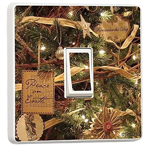 Weihnachten Deko–Single Lichtschalter Vinyl Aufkleber–Winter Weihnachts Feiertage Christmas Tree