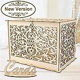 Aparty4u Caja de madera para tarjetas de boda con cierre, colección de cajas de regalo para bodas vintage, recepciones, cumpleaños, graduaciones, baby showers, decoración, 30 x 24 x 21 cm
