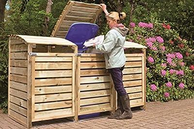 Mülltonnen-Box Mülltonnenverkleidung für 3 Tonnen inkl. Rückwand von GreenSeasopn - Du und dein Garten