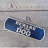Beware of the dog–Stile vintage nero e oro in ghisa da parete/recinzione/cancello, segno