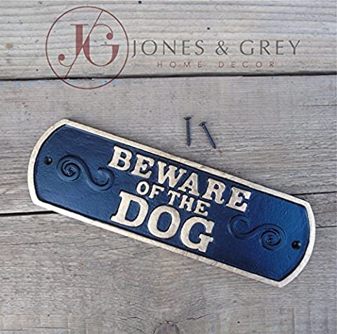 BEWARE OF THE DOG - VINTAGE STYLE BLACK & GOLD CAST IRON WALL / GATE / FENCE SIGN