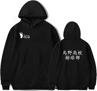 Instalación Costume Cosplay Haikyuu da Uomo Karasuno Shoyo Hinata Felpe con Cappuccio Giacca Pullover Anime Abbigliamento Sportivo Cappotto Felpa per Adulto Unisex