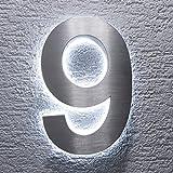 Metzler-Trade - Hausnummer aus V2A Edelstahl - mit indirekter LED-Beleuchtung - in weiß - rostfrei und wetterfest - klassisches Design - spritzwassergeschützt - Höhe: 200 mm Stärke: 35 mm (9)