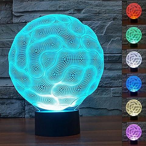 Cerveau 3D Lampes Illusions Optiques, FZAI Amazing 7 Changing Colors Acrylique Touch Button Table Bureau Night Light avec 150cm Câble USB Décoration de maison