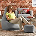 Hi-BagZ® Bean Bag Chair & Matching Footstool Combo - 100% Easy Care Indoor Outdoor High Back Bean Bags