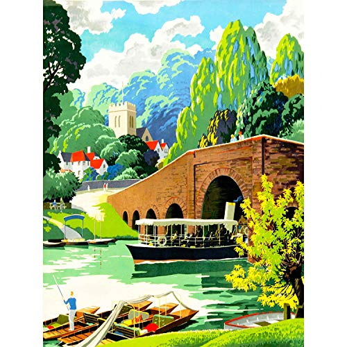 VILLAGE SCENE RIVER THAMES BOAT CHURCH SCENIC UK ART POSTER PRINT CC6604 -