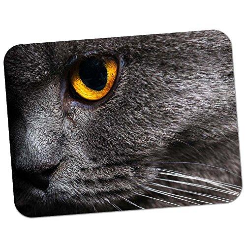 Nahaufnahme von grauen Katzen gelbes Auge Hochwertiges dickes Gummi-Mauspad mit weicher Komfort-Oberfläche