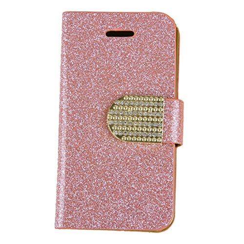 REFURBISHHOUSE Rosa populaere Kristalldiamant Funkeln Bling Flip Mappen Staender Gehaeuse Abdeckung Fuer iPhone 4 4S (Rosa Gehäuse Für Iphone 4s)