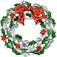 Amosfun - Spilla natalizia con strass, per feste, da donna