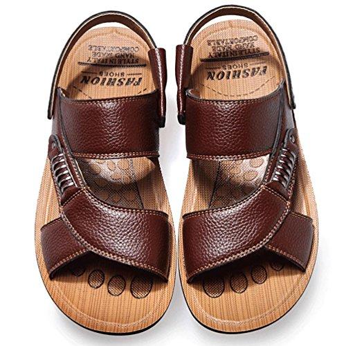 SHANGXIAN Sandales hommes cuir Casual talon plat d'été d'autres noir brun d'autres Brown