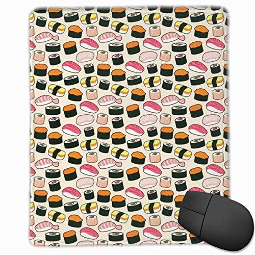 Sushi Party Mouse Pad Custom Design Gaming Mouse Mat Computer Mouse Pads with Non-Slip Neoprene Backing 9.8 X 11.8 inch (25 X 30 cm)