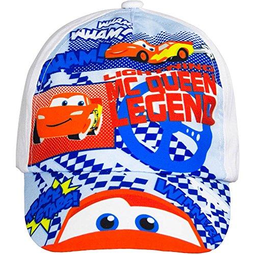 5087 Kinder Cap Basecap Baseball Cap Kappe CARS McQueen f. Jungen (weiß, 50cm)
