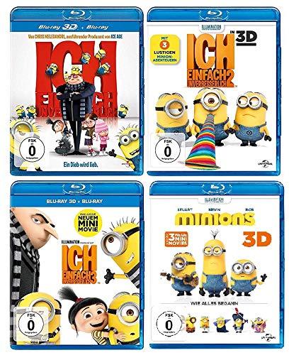 Ich - Einfach unverbesserlich 1+2+3 & Minions - der Film im Set - Deutsche Originalware [4 Blu-rays 2D + 4 Blu-rays 3D]