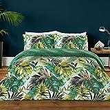 Textile Warehouse Botanical Leaf Green Black Duvet Quilt Cover Bedding Set 100% Cotton