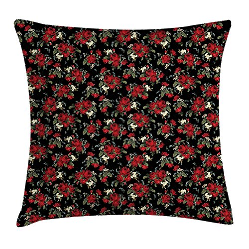 VANESSA Red and Black Throw Pillow Cushion Cover, Shabby Chic Garden Farm Flowers Leaves Roses and Violets Design, Decorative Square Accent Pillow CaseRed Black Olive Green 16x16inches Cathay Rose