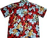 "Hawaiihemd/Hawaii Hemd ""Flower Girls (Red)""/100% Baumwolle/Größe S – 6XL/Rot/Blüten/Blumen/Pin-up"