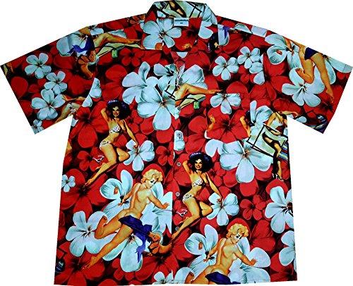 """Hawaiihemd/Hawaii Hemd """"Flower Girls (Red)""""/100% Baumwolle/Größe S – -"""