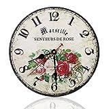 Soledì Orologio da Parete Vintage in legno Stile Rustico Americano Rose