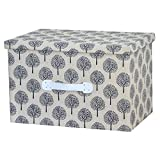 RayLineDo® 2X 26L Foldable Linen Cotton Storage Box Bag Clothes Blanket Closet Sweater Organizer Home Docor Box With White Norway Forest Pattern