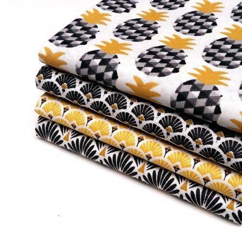 Nadege Tissus Lot 4 coupons tissu ananas jaune noir, éventails noir+jaune, écailles noir -50cm x 50 cm