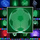 3D Lampe 3D Leuchte 3D LED Stimmungslicht. 7 verschiedene Farben wählbar - Auswahl aus 81 verschiedenen Motiven, hier Fußball 2 ca.21x17cm inkl.Sockel - 3D Illusion Dekolicht mit USB Anschluß und 220V USB Netzteil