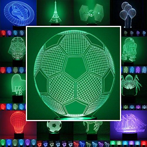 3D Lampe 3D Leuchte 3D LED Stimmungslicht. 7 Farben - Auswahl aus 81 verschiedenen Motiven, hier Fußball 2 ca.21x17cm inkl.Sockel - 3D Illusion Dekolicht mit USB Anschluß und 220V USB Netzteil - Fußball Motorrad Helme