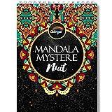 Livre de Coloriage Adulte Fond Noir - Coloriage Mystere Mandala Adulte de Nuit, le Premier Cahier de Coloriage Mystère Adulte avec Papier Noir d'Artiste et Reliure Spirale par Colorya