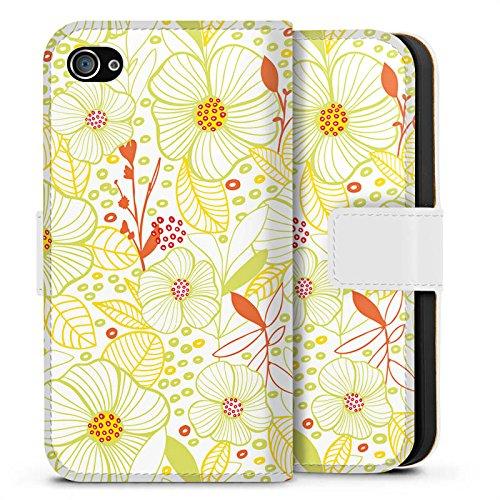 Apple iPhone X Silikon Hülle Case Schutzhülle Flower blumen fruehling Sideflip Tasche weiß