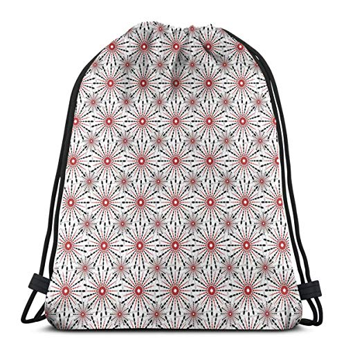 Drawstring Tote Bag Gym Bags Storage Backpack, Trippy Flower Figures with Tribal Shapes Ethnic In New Modern Artful Image,Very Strong Premium Quality Gym Bag for Adults & Children -