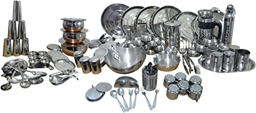 Dynore Stainless Steel Dinner Set, 148-Pieces, Silver