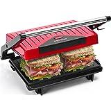 Aigostar Warme 30HHH - Grill multifonction, plancha, presse à paninis, appareil à sandwichs. 750W, plaques anti-adhésives, po