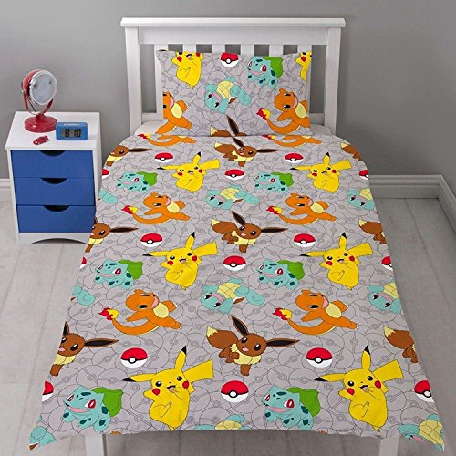 Pokemon Go Catch Rotatry Dovet Cover Repeat Pattern Design Single Bed Set