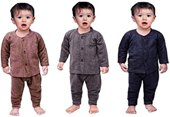 Trend Fashion Front Open Baby Thermal Suit Top & Pajama Set for Baby Boys & Baby Girls, Pack of 3 (Baby Kids Thermal Wear)