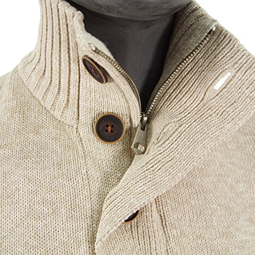 pull hiver petrol industries kwc252 knit stand up collar gris antique white