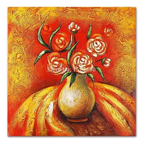 LSHUAJIANG Handgemaltes Ölgemälde Auf Leinwand,Rote Blume In Der Vase, Vintage Abstrakte Große...