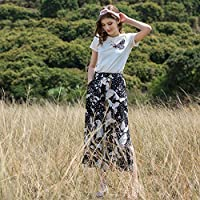 WJP Pantalones anchos de pierna abierta abiertos estampados festivos en los pantalones largos de gasa floral de siete puntas de verano,Color,L