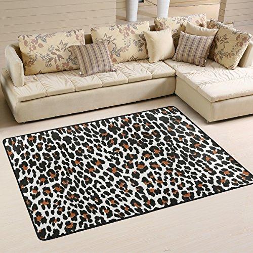 (deyya modernes Leopard Shag Teppich Teppiche für Wohnzimmer und Schlafzimmer, rutschfeste Bereich Teppich für Kinder Schlafzimmer eingerichtet, 91,4x 61cm, Multi, Polyester, multi, 36 x 24 inch)