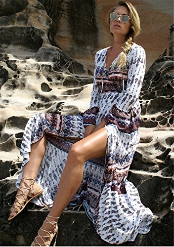 Wealsex Damen Böhmen Chiffon Strandkleider V-Ausschnitt hoch Spliss Blumenkleid Weiß und Violett