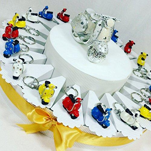 Torta bomboniere nascita, battesimo, comunione, cresima, compleanno vespa scooter moto portachiavi (torta da 35 fette)