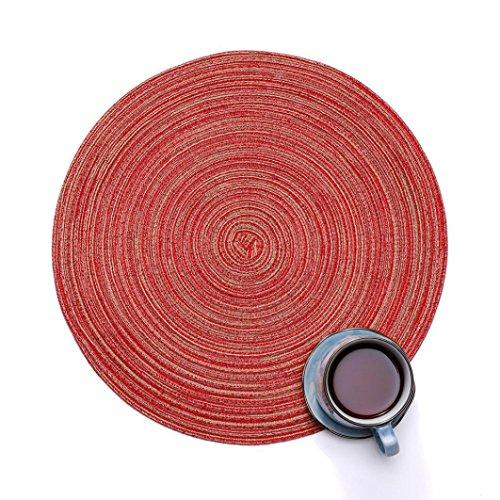 TAOtTAO Runder Kreis Tischsets Tisch Tischsets Küchentischwärmekissen 35cm (rot)