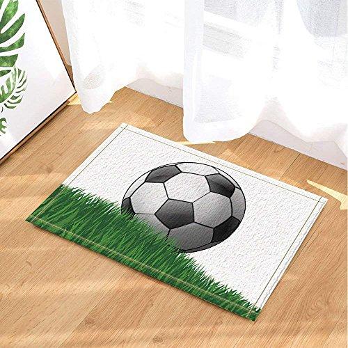 fdswdfg221 Sport Dusche Dekor Cartoon Fußball auf der Wiese für Kinder Badteppiche Rutschfeste Fußmatte Boden Eingänge Indoor Haustürmatte Kinder Badmatte Badzubehör