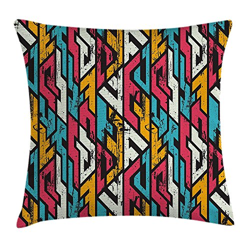 Colorful Throw Pillow Cushion Cover by, Abstract Tribal Pattern with Grunge Effect Vintage Illustration Print, Decorative Square Accent Pillow Case, 18 X 18 inches, Red Marigold and White - Tribal Knit Pant Set