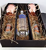 Moscow Mule Set / Geschenkset - Absolut Vodka 70cl (40% Vol) + 2x Goldberg Kupferbecher + 2x Goldberg Intense Ginger 200ml