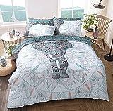 Bettbezug-SetElefanten-Mandala, alle Größen, Polycotton, blaugrün, Doppelbett