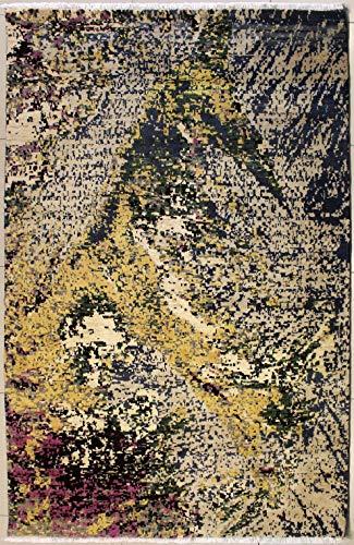 Rugstc 147 x 249 tappeto chobi ziegler realizzato con tinture vegetali con pila in seta e lana - fantasia zeigler chobi   100% originale annodato a mano in bianco, grigio & oro   tappeto rettangolare 152 x 244 di alta qualità a doppio nodo