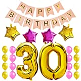 KUNGYO Zum 30. Geburtstag Party Dekorationen Satz-Rosa Happy Birthday Banner, Folienballon 30 in Gold-XXL Riesenzahl 100cm; Stern&Latex Ballon- Süße Alles Gute Zum Geburtstag für Frauen