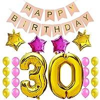 """Bandiera e palloncino felice di compleanno di qualità Premium. Queste decorazioni per feste di compleanno sono perfette per creare una buona atmosfera. Il pacchetto include:  Balloon lettere d'oro """"Happy Birthday"""" Bandiera rosa,  """"30"""" Numero ..."""