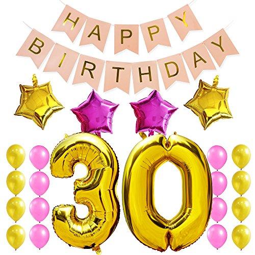 """KUNGYO 30 Fête D'anniversaire Décorations -Bannière Rose """"Happy Birthday"""", Géant 100CM""""30""""Ballon en Feuille D'or; 4 Étoile; Ballons à Latex - Fournitures de Bon Anniversaire pour les Femmes"""